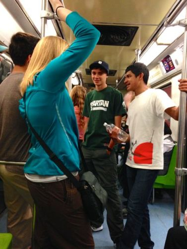 On the subway.