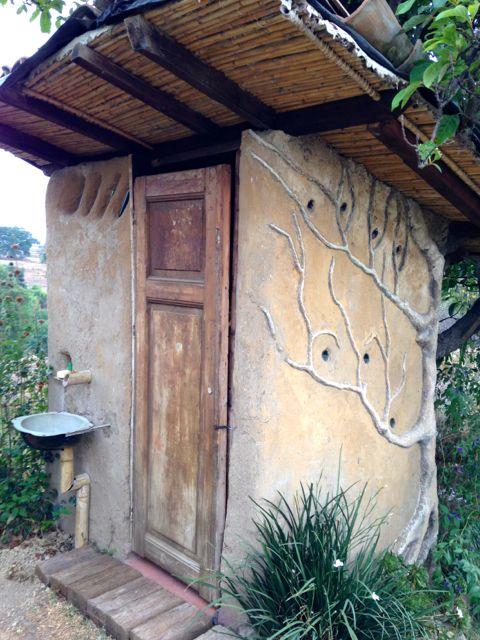 Sustainable outhouse for composting purposes. La Casita del Barro.