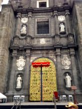Main doors to the Cathedral decorated for Holy Week