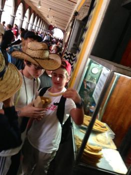 Buying churros in Puebla