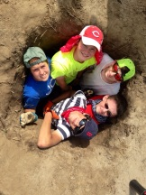 Hannah, Jacob, Andrew, Nathan, and Allie in the hole.