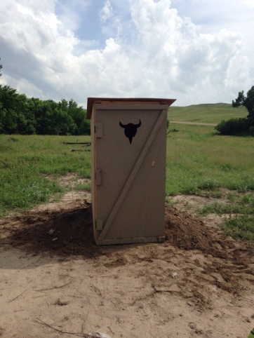 The newly installed outhouse.