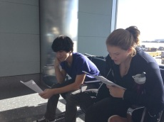 Allie and Izzy read about the history of New Orleans.