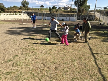 Fútbol in Tecuanipan. The green ball donated by One World at Play.
