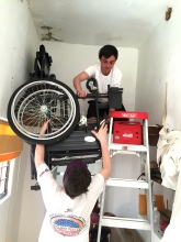 Moving wheelchairs to storage