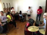 In the music room at the School for the Blind.