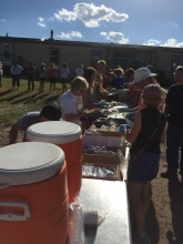 Dinner outside with Lakota artisans.