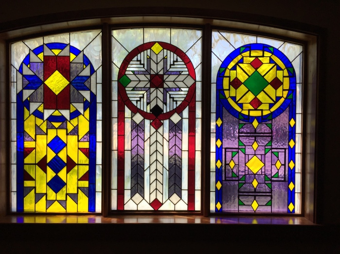 Windows in Red Cloud High School chapel