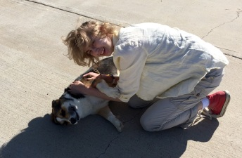 Olenka with another dog at Scenic, SD