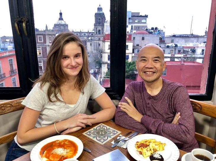 Natalia & Mr. Campos at breakfast