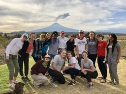 Group shot with Popocatépetl in the background